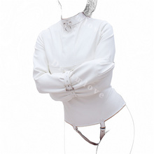 Buy Womens Creamy White Straight Jacket Medical Play Faux Leather Kinky Fantasy Straitjacket Top Fetish Gimp Role Play Costume