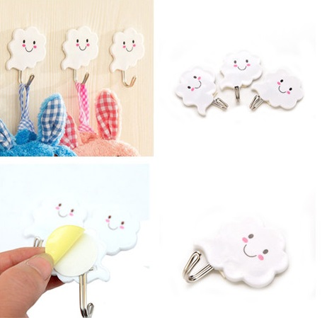 3pcs Cloud Shape Self Adhesive Wall Hooks Cute Hanger For Clothes Bags Hats Key Towel Bathroom Kitchen Useful Accessories