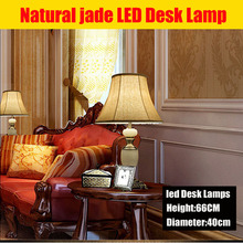 luxury Natural jade zinc alloy led desk lamp Modern Crystal Table Lamp Decoration Led Table Lamp For Bedroom Wedding Lamp