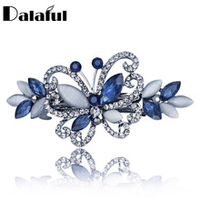Opals Crystal Butterfly Rhinestone Hair clip Barrette Hairpin Headwear Accessories Hair Jewelry For Woman Girls Wedding F134(China)