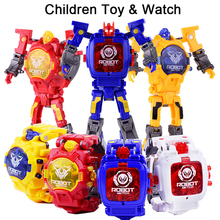 Trasformation Wristwatch Toy Children Sports Cartoon Watches Kids Xmas Gifts Cute Robot Transformation Toys Boys Wristwatch #EA(China)