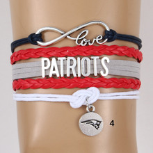 (6pcs/lot) Infinity Love New England PATRIOTS Bracelet NFL Football Team Charm Sport Bracelets & Bangles Jewelry For Women Men