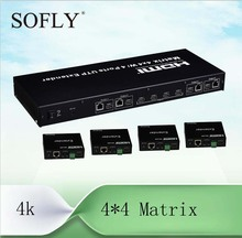 4X4 HDMI Matrix(Splitter&Switcher) with 4 receivers extend to 100m