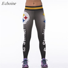 Echoine Bizburg Steelers Fitness Yoga Pants Women Breathable High Waist Gym Workout Tights Leggings American Football Sportswear