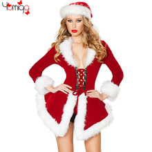 Fashion Long Sleeves Hollow Out Christmas Costume For Women New Year Cos play Costumes Uniform Carnival Sexy Santa Claus Costume