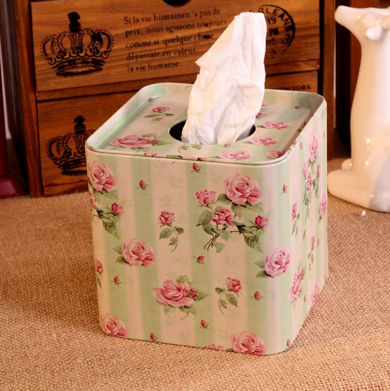 Zakka Paper Towel Roll Film Tin Box Of Tissue Boxes Car Tissue Box Covers Roll 12.5*12.5*12.5cm(China)