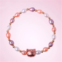 RUNZHUQIYUAN 2017 100% natural freshwater pearl Bracelet Charm Hello Kitty  925 Sterling Silver Jewelry Bracelet For Women