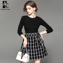 autumn winter woman dress black dark blue knitted top white plaid pattern bottom patchwork dress with belt buttons preppy dress(China)