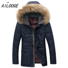 High quality raccoon fur collar 90% white duck down jacket men's casual wear winter thick warm warm long Parka coat dark blue(China)