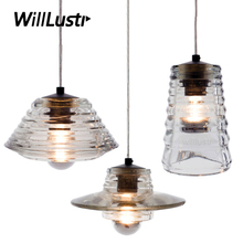 Bowl lens tube Pendant Lamp Pressed Glass Light modern suspension lighting glass shade hanging lamps thick glass lampshade