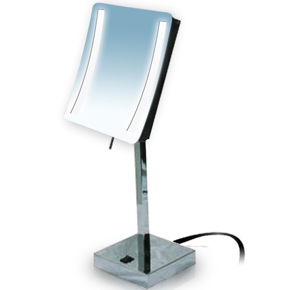 Rucci M871 3x Magnification Chrome Led Light Square Stand Mirror (1)