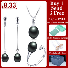 2018 핫 잘 팔리는 Black Pearl Jewelry sets 패션 925 sterling silver jewelry 대 한 women 웨딩/자 보석 Lowest Price(China)