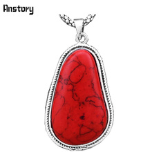 Vintage Look Tibetan Alloy Antique Silver Plated Exotic Pear Pendant Red Stone Necklace TN48(China)