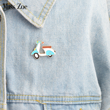 Cartoon electrombile brooch Enamel cute pin coat Button Pins Denim Jacket Pin Badge Fashion Transportation Jewelry Gift for Kids(China)