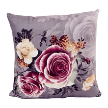 Flower Printing Dyeing Peony Sofa Car Bed Home Decor Pillow Case Cushion Cover gray