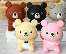(10 Pcs/Lot) Cartoon Bear Animal Silicone Zipper Travel Small Hasp Storage Bag 5 Color Option