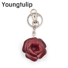 Youngtulip Cow Leather Rose Flower Key Chains Unisex Cowhide Keychains Car Hanging Handbag Decorations Fashion Jewelry Handmade