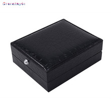 GraceAngie 1 PCS Black Faux Leather Cufflinks Box Gift Storage Case Cuff Box  for Jewelry Birthday  Party Gifts 84*67*30MM