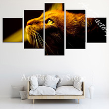 5 Units Animals yellow Eyes cat Art of the Wall Photo Decoration of the Home of the Room Print of the Canvas(China)