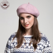 2016 Fashion winter wool Berets For women Artist Beret Cap Soft Wool Solid Color Female Stewardess pink beret hat