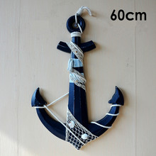 60cm Wood Anchor Handicrafts Mediterranean anchor Nautical Wooden wall ornaments bar background Art Wall Hanging Hook Decoration(China)