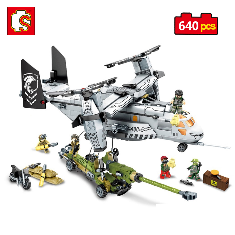 Sembo Block Military Helicopter Action Toy Figures Building Blocks Compatible Legoed City Eductional Toy For Kids Christmas Gift<br>