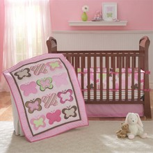 Embroidered Butterfly Crib Bedding Set Detachable Cot Bedding Set For Newborns Baby Girl Preferred Pink Character Quilt Bumper(China)