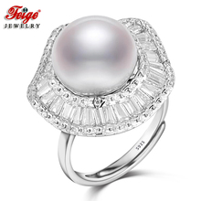 FEIGE Luxury Wedding Jewelry Pearl Ring 925 Sterling Silver Rings for Women 11-12MM White Freshwater Pearl Jewelry Bride Gifts(China)