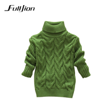 boys girls kids sweater knitted bottoming turtleneck shirts solid unisex winter autumn pullovers warm outerwear sweaters(China)