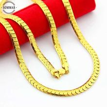 best friends pure 24K gold color necklaces 5mm 60cm Flat sideways chain for men perfume Men's jewelry love(China)