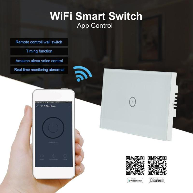 US Plug WiFi Smart Switch 1CH Wall Waterproof Touch Panel Control with Amazon Alexa Voice Control for iOS Android Smartphone<br>
