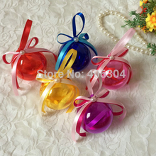 Free shipping,6cm transparent hanging christmas candy ball box with ribbon,red,pink,purple,blue,yellow clear plastic round ball(China)