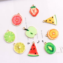 Wholesale 50pcs/lot Enamel Fruit Charms Cute Oil Drop Strawberry Apple Watermelon Lemon DIY Jewelry Findings Pendant Charm Craft