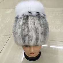 2016 new real women winter rex mink fur hat with a silver fox fur and rabbit knitting wool lined with 010D