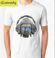 Cool Headphones Hip Hop Groove Buddha Banksy Printed Men T Shirt T shirt Fashion 2016 New Short Sleeve O Neck Cotton T-shirt