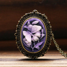 Retro Purple Flower Butterfly Pattern Little Small Pocket Watch Women Lady Girl Necklace Pendant Watches Clock Birthday Gift P62