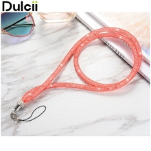 Dulcii for iphone 6 7 samsung S7 huawei phone straps Bling Crystal Hanger Diamond Neck Strap Lanyard Holder for Cell Phone - Red