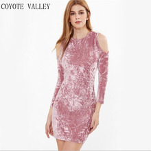 2017 New Real Dress Coyote Valley Women Sexy Party Nightclub Wear Clothes Vestidos Long Sleeve Crushed Velvet Bodycon