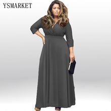 2017 Autumn and Winter Large Big Size Clothing Women Plus Size Long Maxi Dresses with Sleeves Sexy Evening Party Long Dress XXXL(China)
