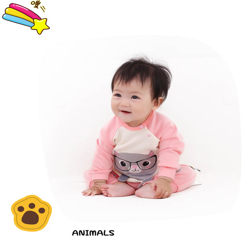 peninsula baby new autumn baby Climbing Clothes cartoon cat soft beautiful baby rompers thick cotton long sleeve baby jumpsuit<br>