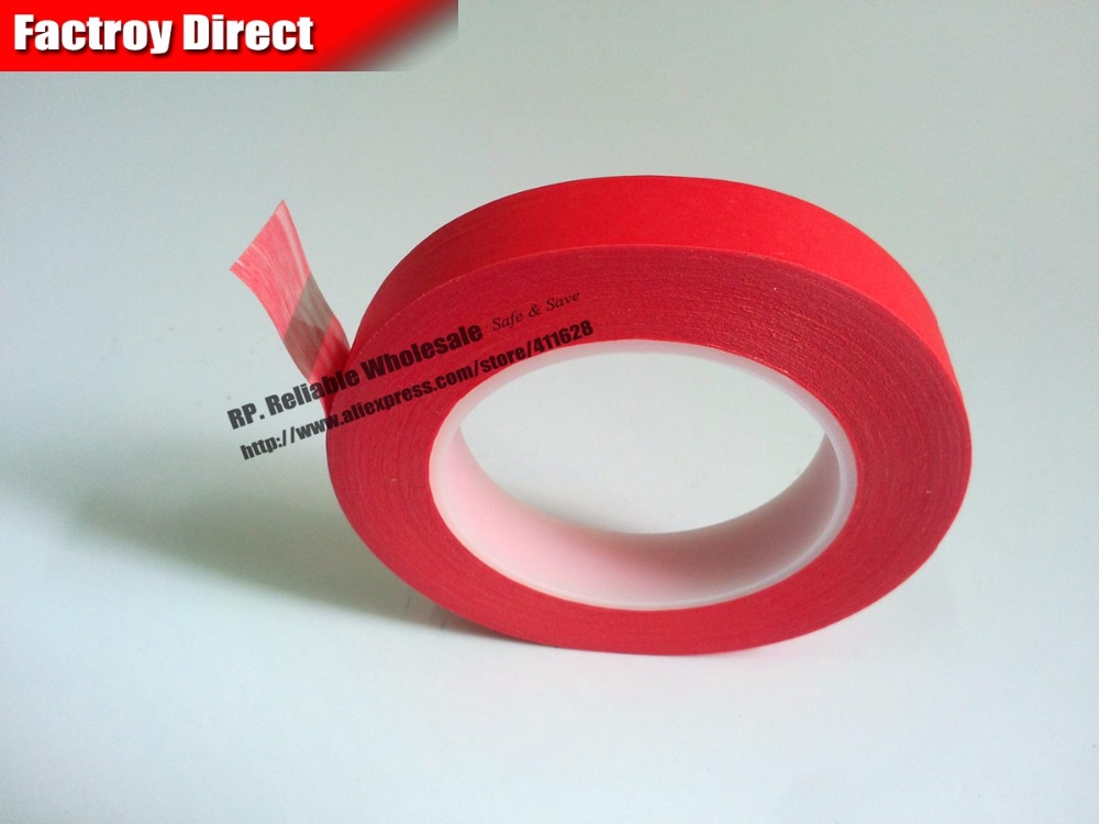 60mm*33M Single Face Sticky Red Crepe Paper Mix PET High Temperature Resist Tape for Cabinets Coating<br>