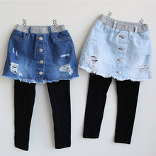 Children's Clothing 2017 Spring Children's Wear Children's Leggings False Two Children Denim Skirt Pants Girls Pants(China)