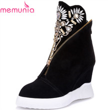 MEMUNIA Women's cow suede leather ankle boots pointed toe wedges high heels shoes autumn fashion rhinestone women shoes