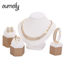 OUMEILY Jewelry Set Necklace and Bangle Sets Designer Vintage African Costume Women Wedding Accessories Gold Color Jewellery