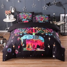 FUYA 3 Pieces 3D Elephant Red Bedding Set Bohemia King Duvet Cover with Pillow Case Colorful Printed Bed Set Cover