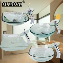 OUBONI Tempered Glass Sinks Polish Chrome Bathroom Sink Washbasin Round & Rectangle Bath Sink Combine Set Torneira Mixer Faucet(China)