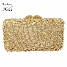 Adorable Women's Gold Evening Night Club Crystal Clutches Bags Metal Hard Case Diamond Wedding Bridal Shoulder Handbags Purse(China)