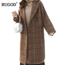 RUGOD 2018 Vintage Plaid Winter Coat Women Warm Cotton-padded Wool Coat Long Women's Cashmere Coat European Fashion Jacket Women