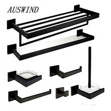 AUSWIND 7-Piece Black Oil Bronze 304 Stainless Steel Square Base Bathroom Hardware Set