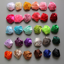 Free Shipping 50pcs/lot 1.5''Mini Satin Rolled Rosettes Rose Flowers Kids Hair Accessories Girl Garment Accessories 30colors(China)